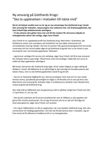 """Ny ansvarig på Gotthards Krogs:  """"Ska ta upplevelsen i matsalen till nästa nivå"""""""