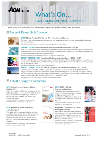 Aon Hewitt - What's On March 2013