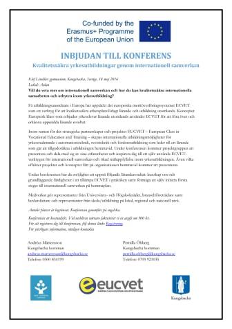 Program och inbjudan till EUCVET konferens