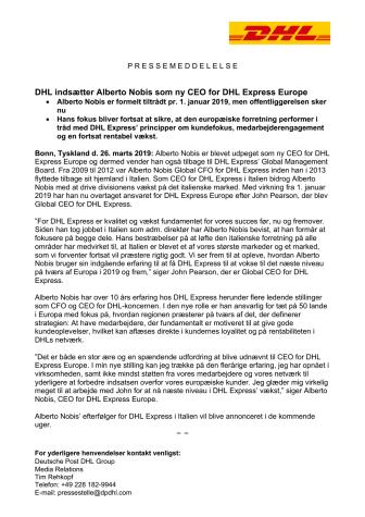 DHL indsætter Alberto Nobis som ny CEO for DHL Express Europe