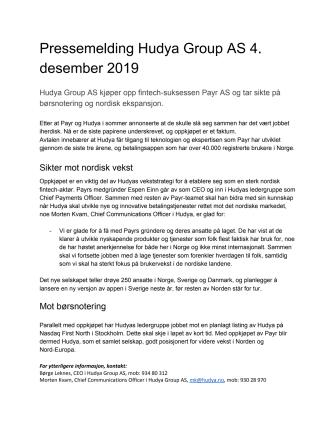 Hudya kjøper opp fintech-selskapet Payr - sikter mot børsnotering i Sverige og nordisk vekst