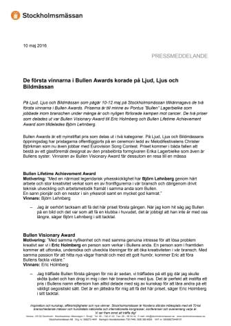 De första vinnarna i Bullen Awards korade på Ljud, Ljus och Bildmässan
