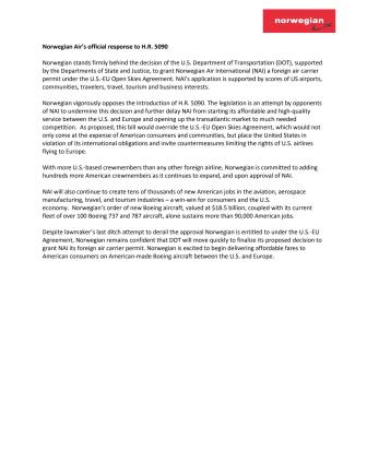 Norwegian's response to H.R. 5090