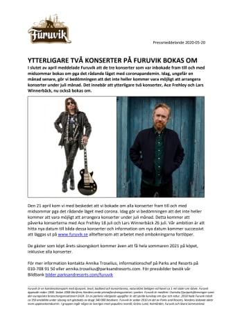 Ytterligare två konserter på Furuvik bokas om