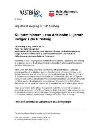 Kulturministern Lena Adelsohn Liljeroth inviger Tidö turistväg