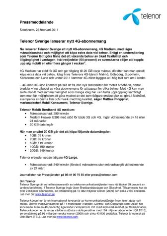 Telenor Sverige lanserar nytt 4G-abonnemang