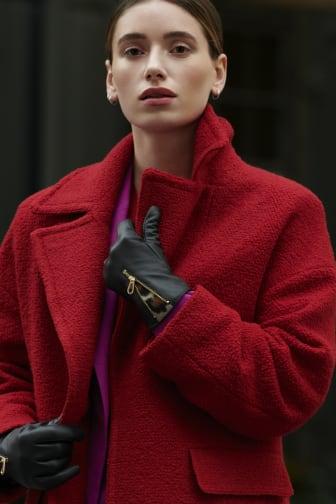 Glitter Model Image - Leather Gloves