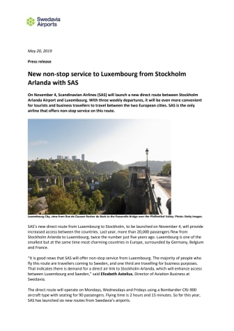 New non-stop service to Luxembourg from Stockholm Arlanda with SAS