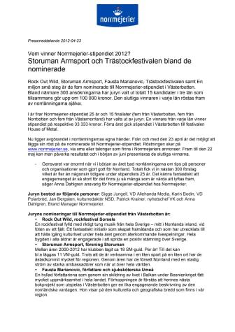 Vem vinner Norrmejerier-stipendiet 2012? Storuman Armsport och Trästockfestivalen bland de nominerade