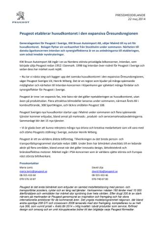 Peugeot etablerar huvudkontoret i den expansiva Öresundsregionen