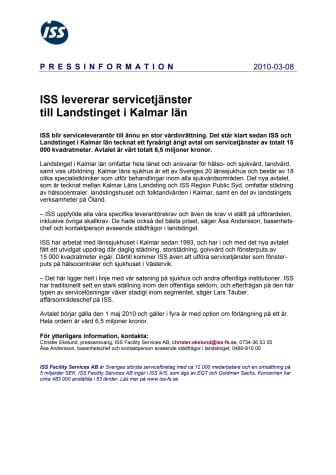 ISS levererar servicetjänster till Landstinget i Kalmar län