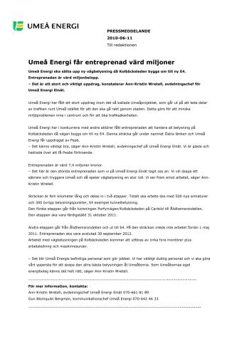 Umeå Energi får entreprenad värd miljoner