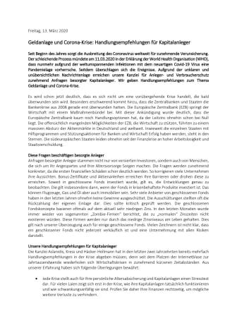 Geldanlage und Corona-Krise: Handlungsempfehlungen für Kapitalanleger