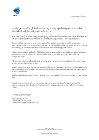 Irisity genomför global lansering av ny spetsalgoritm för ökad säkerhet vid järnvägsinfrastruktur