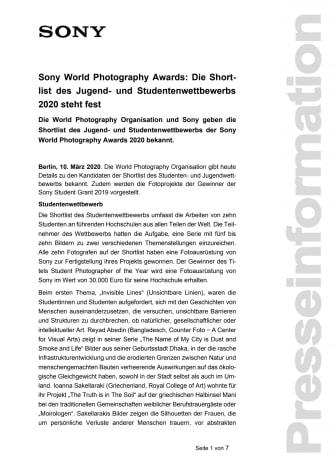 Sony World Photography Awards: Die Shortlist des Jugend- und Studentenwettbewerbs 2020 steht fest