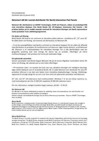 Netsmart AB blir svensk distributör för BenQ Interactive Flat Panels