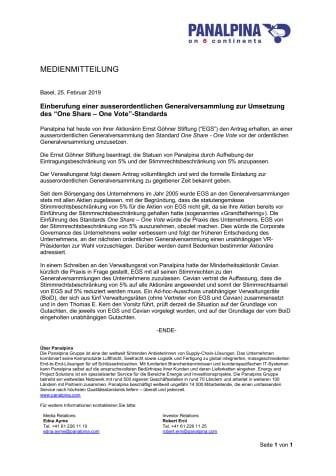 """Einberufung einer ausserordentlichen Generalversammlung zur Umsetzung des """"One Share – One Vote""""-Standards"""