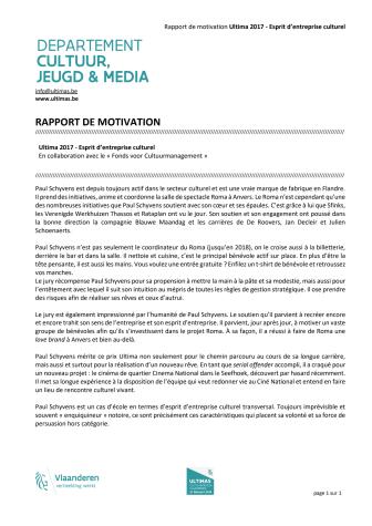 Rapport de motivation Ultimas 2017 - Esprit d'entreprise culturel