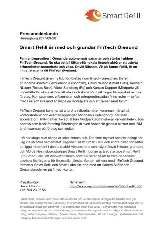 Smart Refill är med och grundar FinTech Øresund