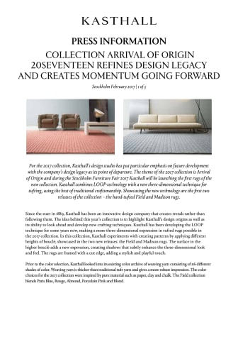 COLLECTION ARRIVAL OF ORIGIN 20SEVENTEEN REFINES DESIGN LEGACY AND CREATES MOMENTUM