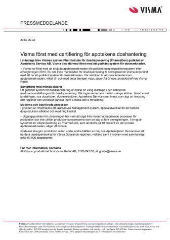 Visma först med certifiering för apotekens doshantering