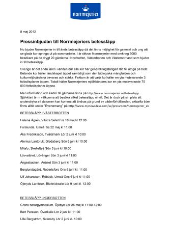 Pressinbjudan till Norrmejeriers betessläpp