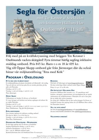 Program för Briggen Tre Kronor och Initiativet Hållbara Hav i Oxelösund