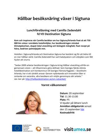 Inbjudan till lunchföreläsning om Hållbar destinationsutveckling i Sigtuna