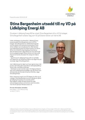 Stina Bergenheim utsedd till ny VD på Lidköping Energi