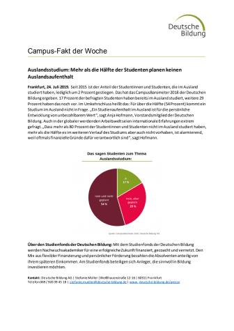 CampusFakt der Woche: Mehr als die Hälfte der Studenten planen keinen Auslandsaufenthalt