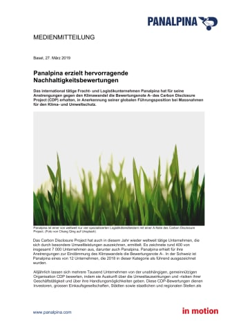 Panalpina erzielt hervorragende Nachhaltigkeitsbewertungen