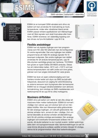 ESIM4 batteridriven GSM-övervakning