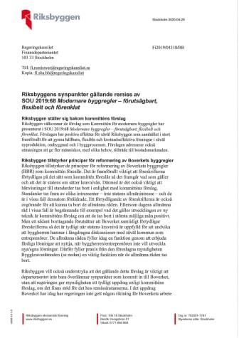 Riksbyggens synpunkter gällande remiss av SOU 2019:68