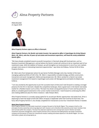 Alma Property Partners opens an office in Denmark