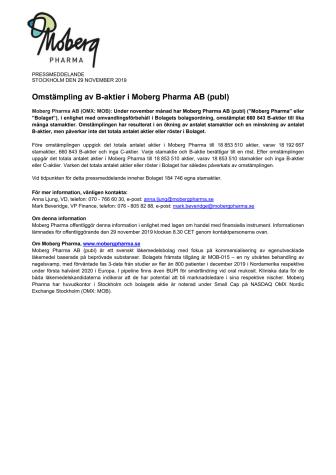 Omstämpling av B-aktier i Moberg Pharma AB (publ)