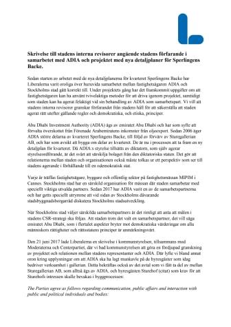 Skrivelse från Liberalerna till stadens revisorer om samarbetet med ADIA/Abu Dhabi