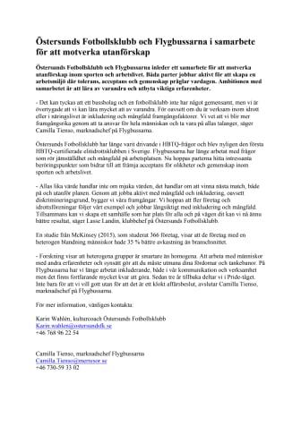 Östersunds Fotbollsklubb och Flygbussarna i samarbete för att motverka utanförskap