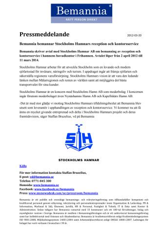 Bemannia bemannar Stockholms Hamnars reception och kontorsservice