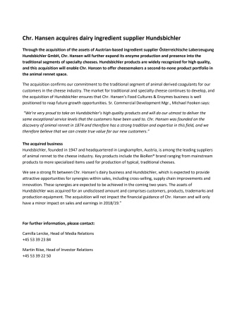 Chr. Hansen acquires dairy ingredient supplier Hundsbichler