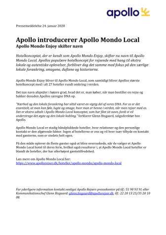 Apollo introducerer Apollo Mondo Local