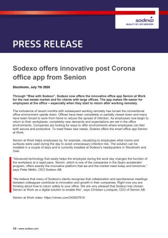 Sodexo offers innovative post Corona office app from Senion