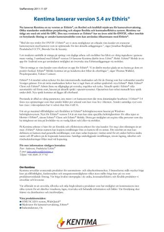 Kentima lanserar version 5.4 av Ethiris