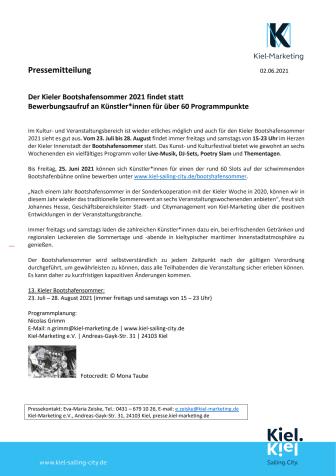 Pressemeldung: Kieler Bootshafensommer 2021 findet statt