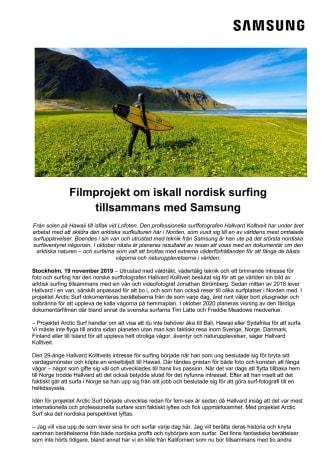Filmprojekt om iskall nordisk surfing tillsammans med Samsung