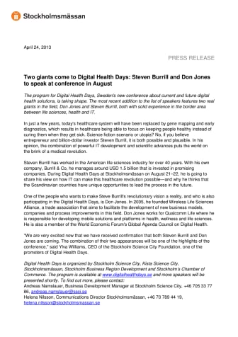 Two giants come to Digital Health Days: Steven Burrill and Don Jones to speak at conference in August