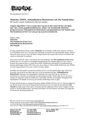 Thåström, TSOOL, Nationalteaterns Rockorkester och The Nomads klara - Ett stycke svensk rockhistoria från fyra epoker