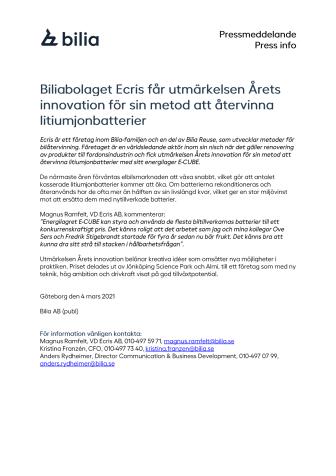 Biliabolaget Ecris får utmärkelsen Årets Innovation för sin metod att återvinna litiumjonbatterier