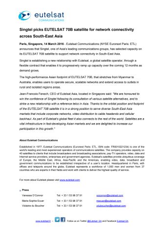 Singtel picks EUTELSAT 70B satellite for network connectivity across South-East Asia
