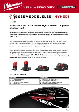 Milwaukee's RED LITHIUM-ION tager batteriteknologien til næste niveau!