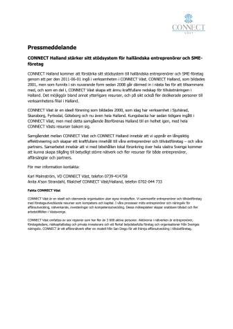CONNECT Halland stärker sitt stödsystem för halländska entreprenörer och SME-företag